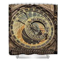 Prague Astronomical Clock Shower Curtain by Joan Carroll