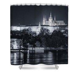 Prague Castle At Night Shower Curtain by Joan Carroll