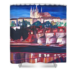 Prague - Hradschin With Charles Bridge Shower Curtain by M Bleichner