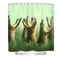 Praising Prairie Dogs Shower Curtain by Anthony Falbo