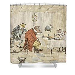 Pray Miss Mouse Will You Give Us Some Beer Shower Curtain by Randolph Caldecott