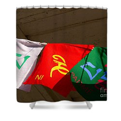 Prayer Flags Shower Curtain by Angela Wright