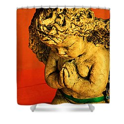 Praying Angel Shower Curtain by Susanne Van Hulst