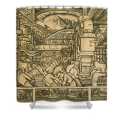 Presentation Drawing Of The Automotive Panel For The North Wall Of The Detroit Industry Mural Shower Curtain by Diego Rivera
