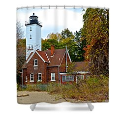 Presque Isle Lighthouse Shower Curtain by Frozen in Time Fine Art Photography