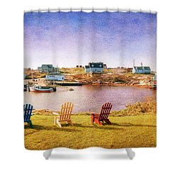Primary Chairs - Digital Art Shower Curtain by Renee Sullivan