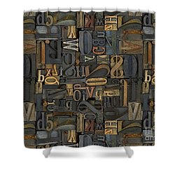 Printing Letters 1 Shower Curtain by Bedros Awak