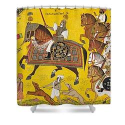 Processional Portrait Of Prince Bhawani Sing Of Sitamau Shower Curtain by Pyara Singh