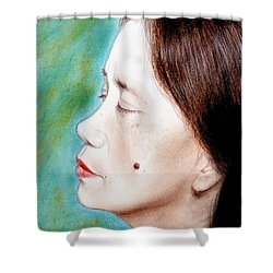 Profile Of A Filipina Beauty With A Mole On Her Cheek  Shower Curtain by Jim Fitzpatrick