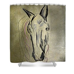 Profile Of A White Horse Shower Curtain by Angela A Stanton