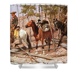 Prospecting For Cattle Range Shower Curtain by Frederic Remington