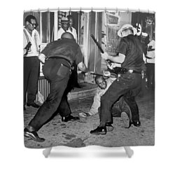 Protester Clubbed In Harlem Shower Curtain by Underwood Archives