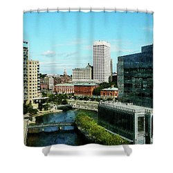 Providence Ri Skyline Shower Curtain by Susan Savad