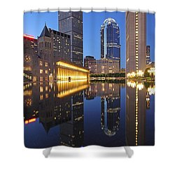 Prudential Center At Night Shower Curtain by Juergen Roth