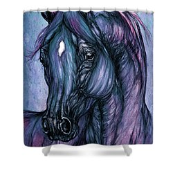 Psychodelic Deep Blue Shower Curtain by Angel  Tarantella