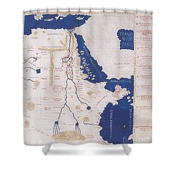 Ptolemys Map Of The Nile 2nd Century Shower Curtain by Photo Researchers