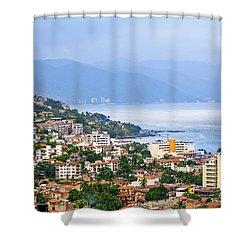 Puerto Vallarta On Mexican Coast Shower Curtain by Elena Elisseeva