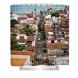Puerto Vallarta Street Shower Curtain by Elena Elisseeva