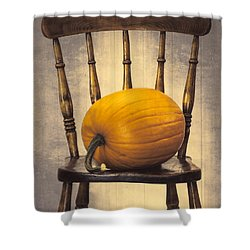 Pumpkin On Chair Shower Curtain by Amanda And Christopher Elwell