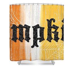 Pumpkins Sign Shower Curtain by Linda Woods