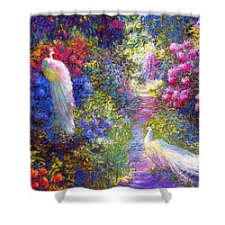 White Peacocks, Pure Bliss Shower Curtain by Jane Small