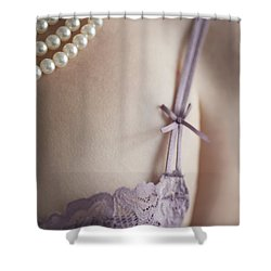 Purple Bra And Pearl Necklace Shower Curtain by Lee Avison