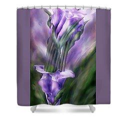 Purple Callas In Calla Vase Shower Curtain by Carol Cavalaris