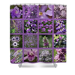 Purple In Nature Collage Shower Curtain by Carol Groenen