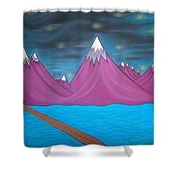Purple Mountains Shower Curtain by Robert Nickologianis