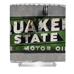 Quaker State Motor Oil Shower Curtain by Janice Rae Pariza