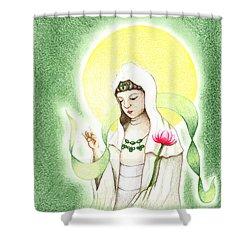 Quan Yin Shower Curtain by Keiko Katsuta