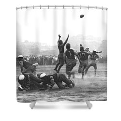 Quarterback Throwing Football Shower Curtain by Underwood Archives