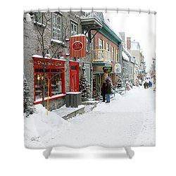 Quebec City In Winter Shower Curtain by Thomas R Fletcher