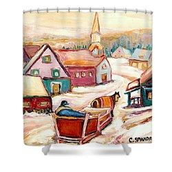 Quebec City Street Scene Caleche Ride In The Village Shower Curtain by Carole Spandau