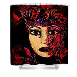 Queen Of Hearts Shower Curtain by Natalie Holland