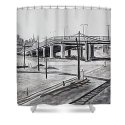 Quiet West Oakland Train Tracks With Overpass And San Francisco  Shower Curtain by Asha Carolyn Young