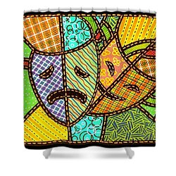 Quilted Theatre Masks Shower Curtain by Jim Harris