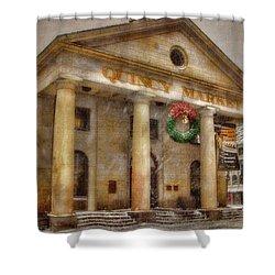 Quincy Market Snow 2 Shower Curtain by Joann Vitali
