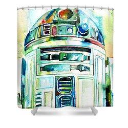 R2-d2 Watercolor Portrait Shower Curtain by Fabrizio Cassetta