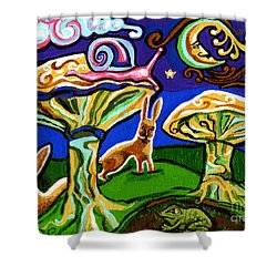 Rabbits At Night Shower Curtain by Genevieve Esson