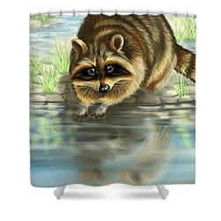 Raccoon Shower Curtain by Veronica Minozzi