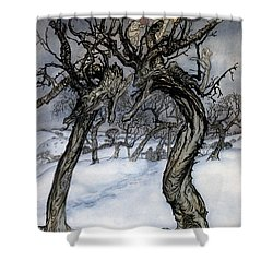 Rackham: Whisper Trees Shower Curtain by Granger
