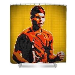 Rafael Nadal 2 Lego Digital Painting Shower Curtain by Georgeta Blanaru