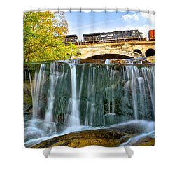Railroad Waterfall Shower Curtain by Frozen in Time Fine Art Photography