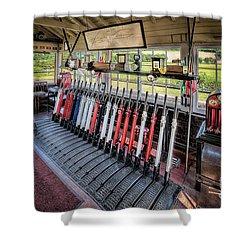 Railway Signal Box Shower Curtain by Adrian Evans