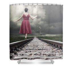 Railway Tracks Shower Curtain by Joana Kruse