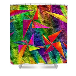Rainbow Bliss - Pin Wheels - Painterly - Abstract - H Shower Curtain by Andee Design