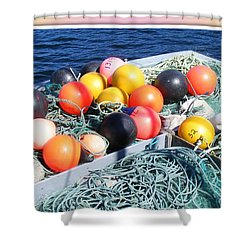 Rainbow Buoys Shower Curtain by Barbara Griffin