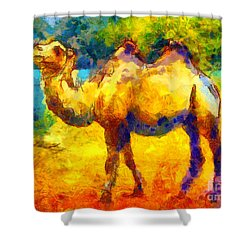 Rainbow Camel Shower Curtain by Pixel Chimp