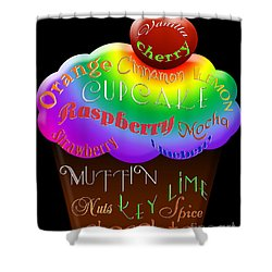 Rainbow Cupcake Typography Shower Curtain by Andee Design